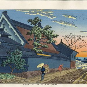 Takeji Asano Woodblock Twilight In Nara Village