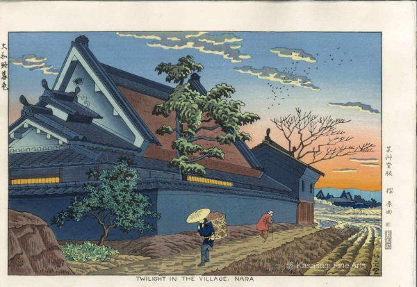 Takeji Asano Woodblock Twilight In Nara Village