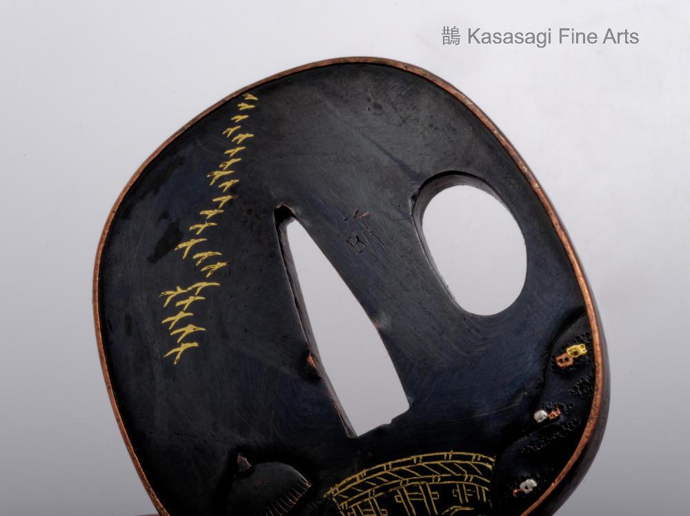 Antique Shakudo Tsuba Kiyomizudera