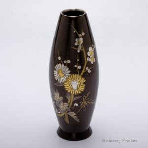 Gold And Silver Blossoms Shakudo Vase