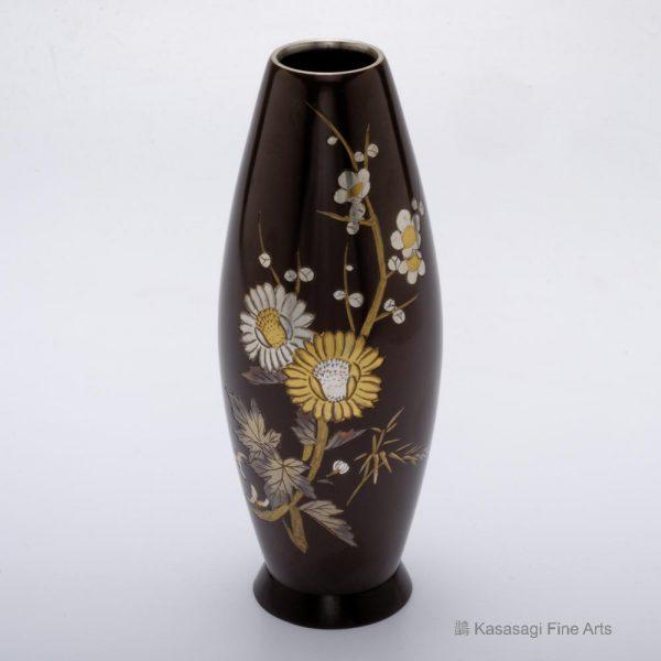 Gold And Silver Blossoms Shakudo Vase