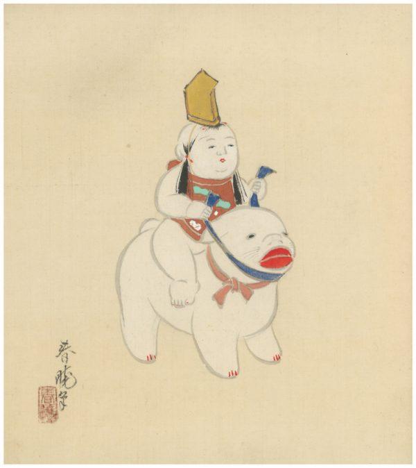 Omocha Woodblock Artboard Gosho Riding Dog