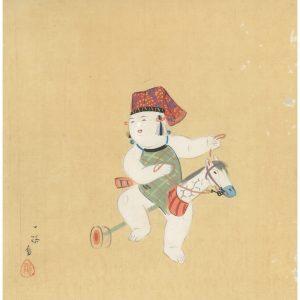 Omocha Woodblock Artboard Gosho Riding Toy Horse