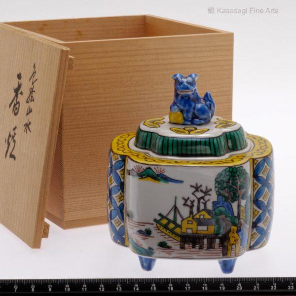Antique Kutani Signed Porcelain Incense Burner 1