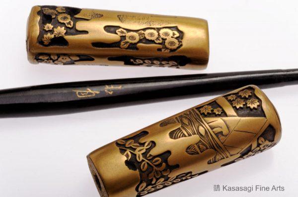 Japanese Kogai Hair Ornament Signed Shogetsu