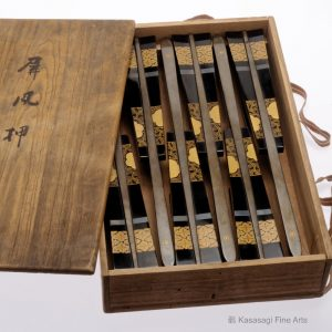 Antique Lacquer Byobu Osae Screen Holders