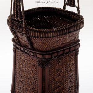 Antique Tall Ikebana Bamboo Basket