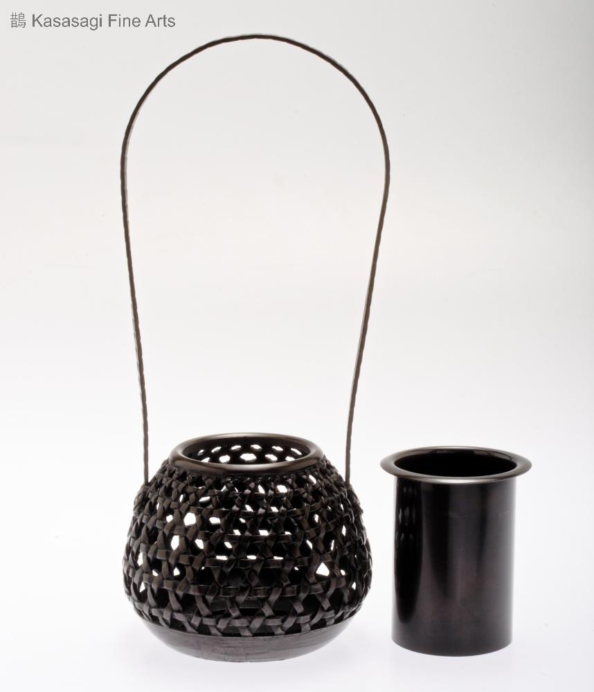 Bronze Basket Weave Ikebana Vase