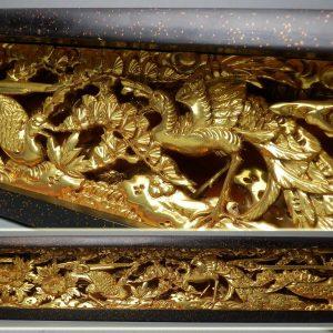 Framed Japanese Shrine Lacquered Ranma