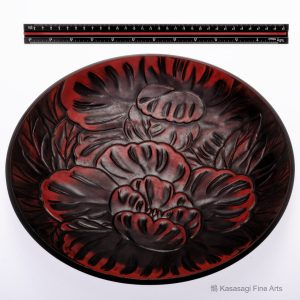 Large Signed Carved Kamakura Bori Lacquer Plate