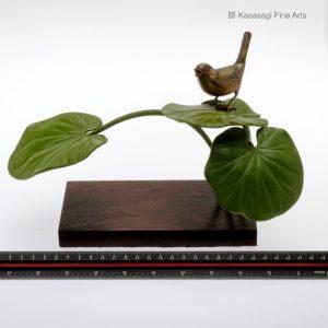 Signed Masaharu Saku Bronze Bird on Bonsai Branch
