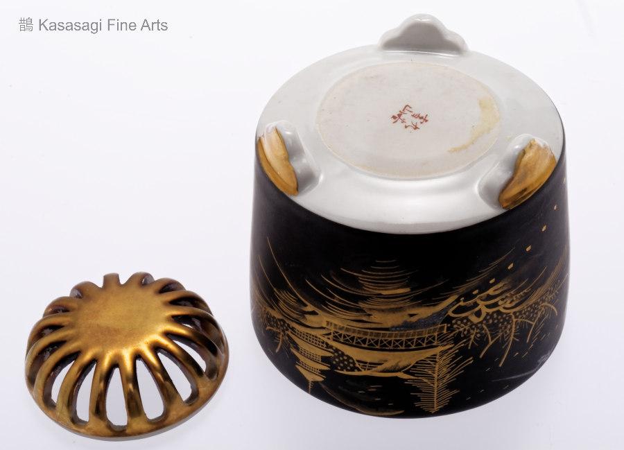 Antique Satsuma Black And Gold Koro