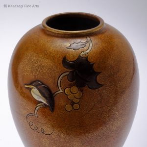 Japanese Bronze Vase Kingfisher And Grapevine