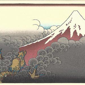 Hokusai Woodblock Print Dragon Ascending Mount Fuji