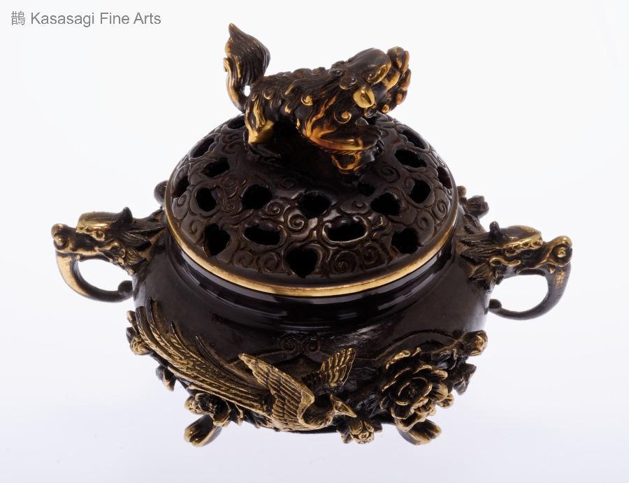 Bronze Koro Featuring Phoenix And Shi Shi Lion